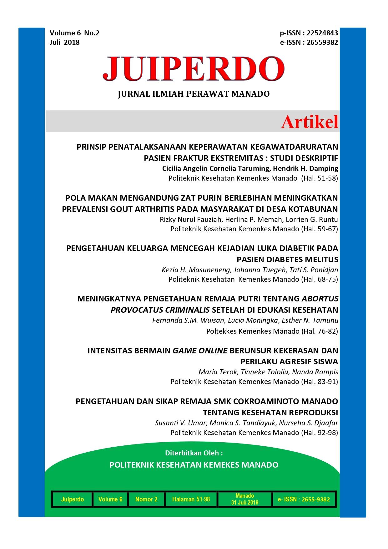 Knowledge Of Family Preventing Diabetic Wound In Diabetes Melitus Patient Jurnal Ilmiah Perawat Manado Juiperdo